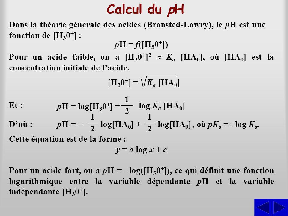 Calcul du pH Dans la théorie générale des acides (Bronsted-Lowry), le pH est une fonction de [H30+] :